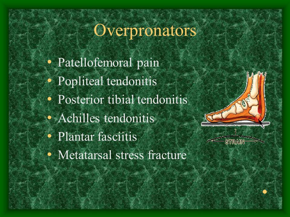 Overpronators Patellofemoral pain Popliteal tendonitis