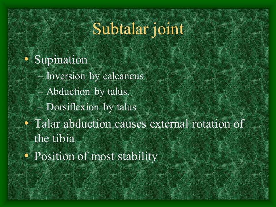 Subtalar joint Supination