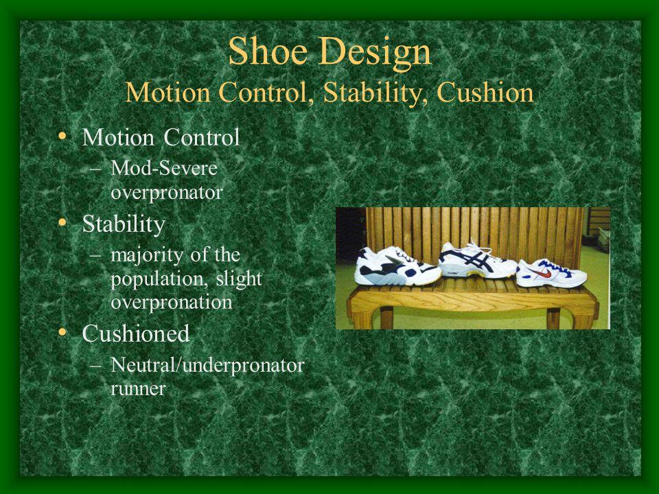 Shoe Design Motion Control, Stability, Cushion