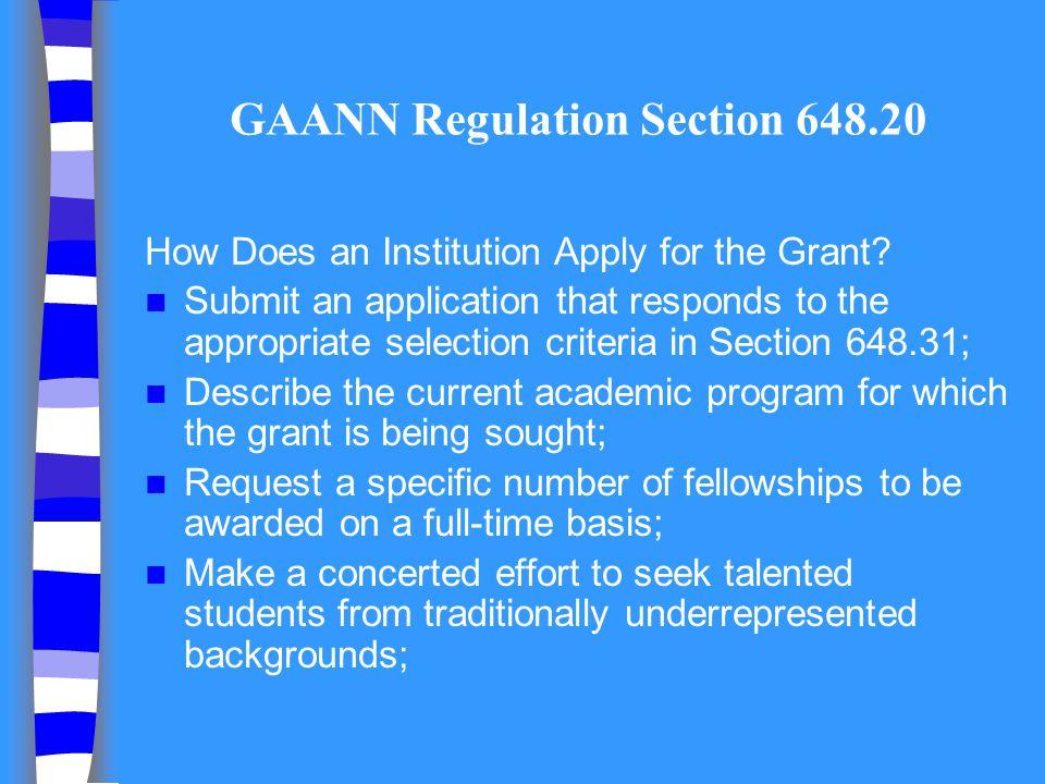 GAANN Regulation Section 648.20