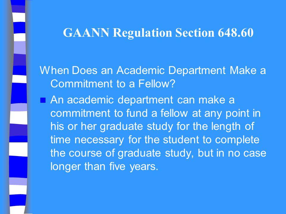 GAANN Regulation Section 648.60