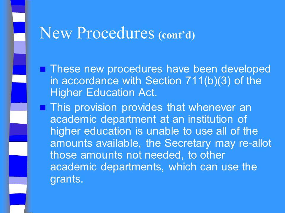 New Procedures (cont'd)