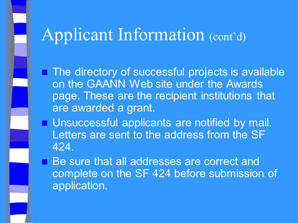 Applicant Information (cont'd)