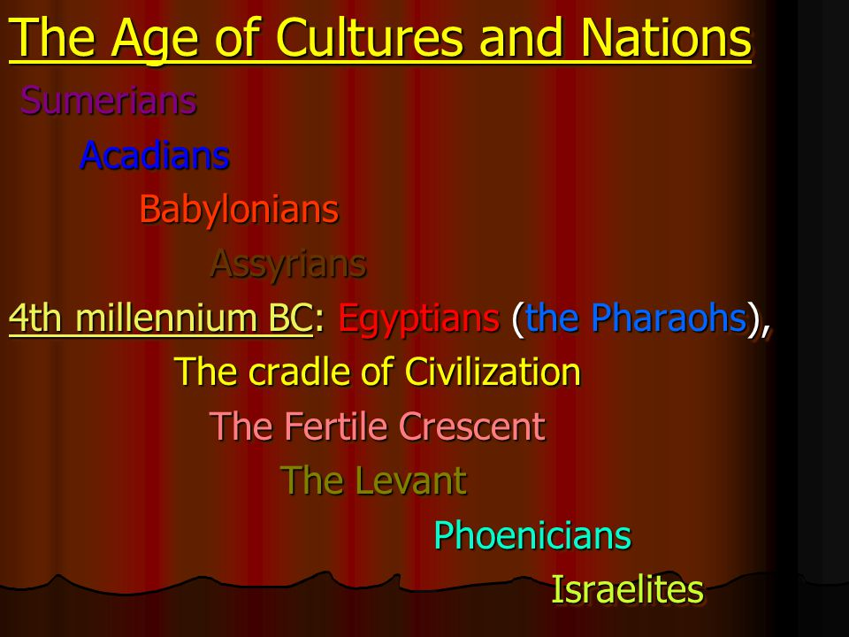 The Age of Cultures and Nations