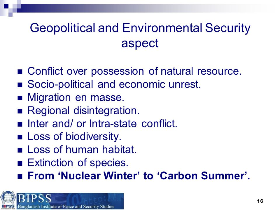 Geopolitical and Environmental Security aspect