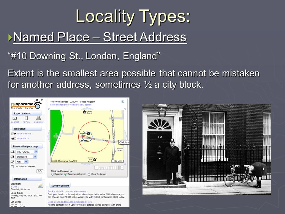Locality Types: Named Place – Street Address