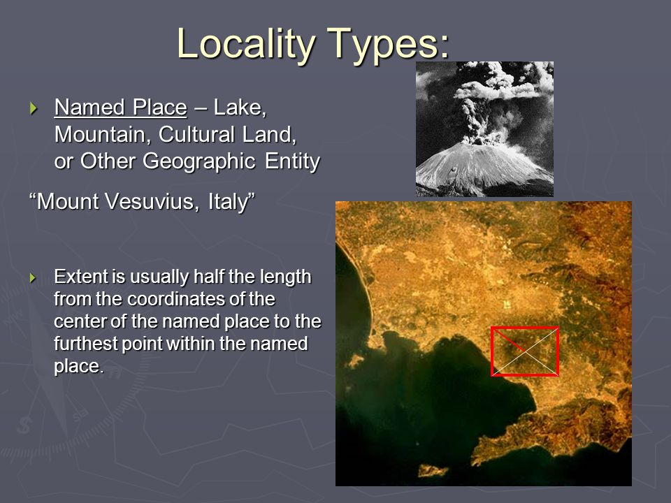 Locality Types: Named Place – Lake, Mountain, Cultural Land, or Other Geographic Entity. Mount Vesuvius, Italy