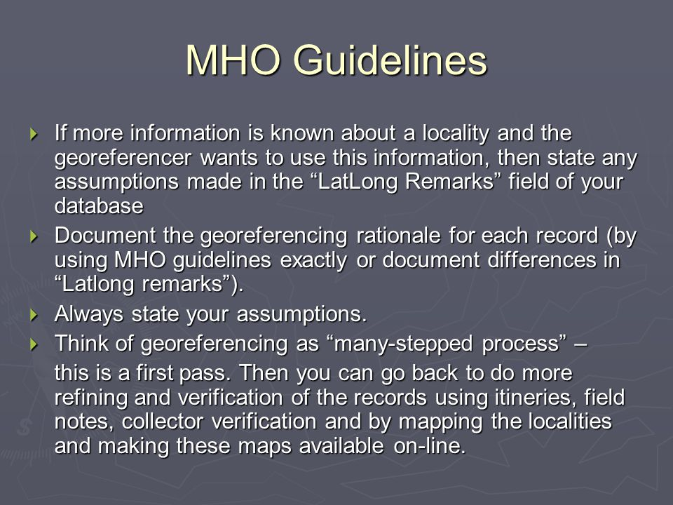 MHO Guidelines
