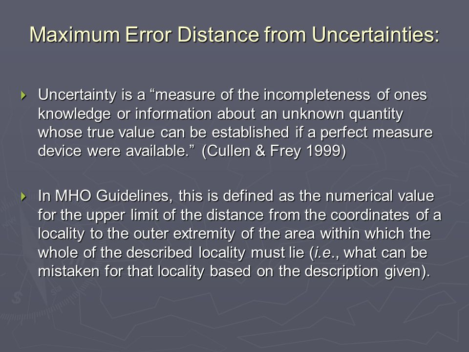 Maximum Error Distance from Uncertainties: