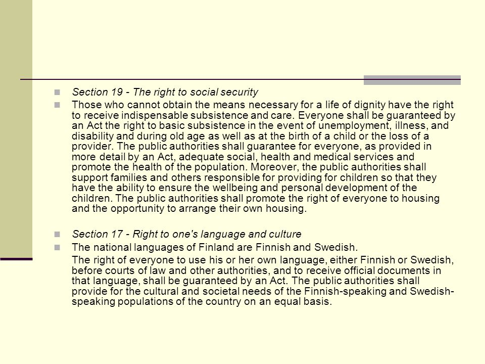 Section 19 - The right to social security
