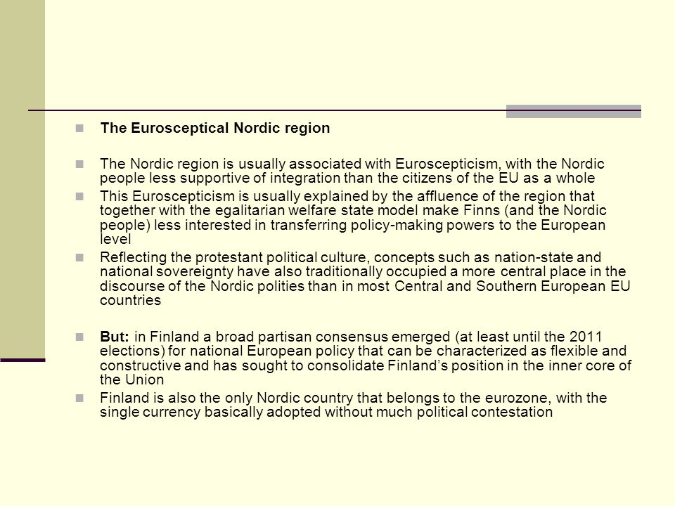 The Eurosceptical Nordic region