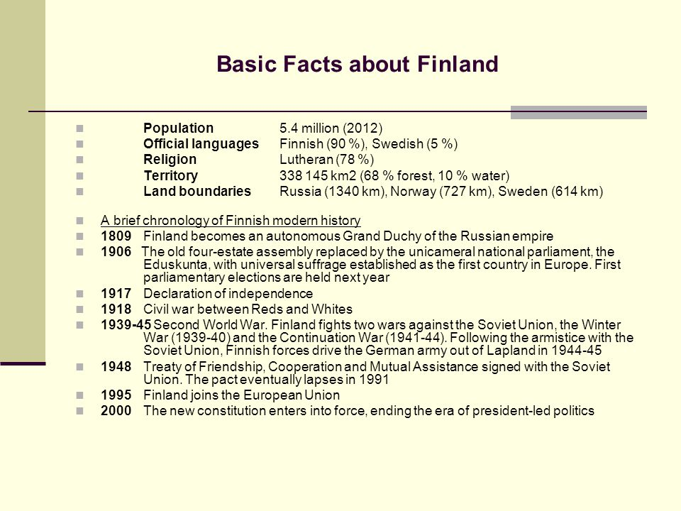Basic Facts about Finland