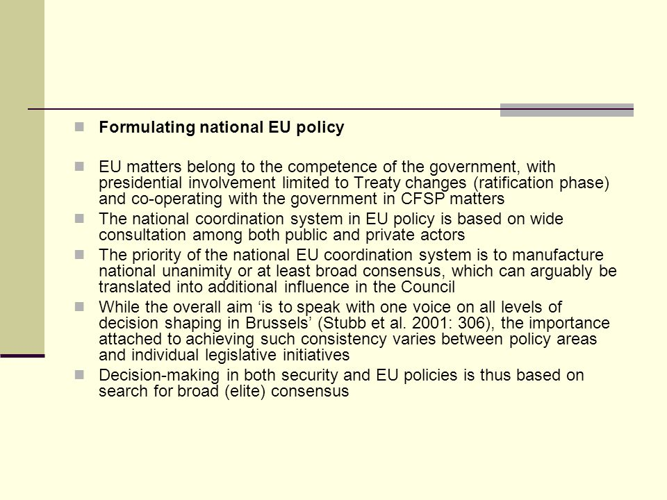 Formulating national EU policy