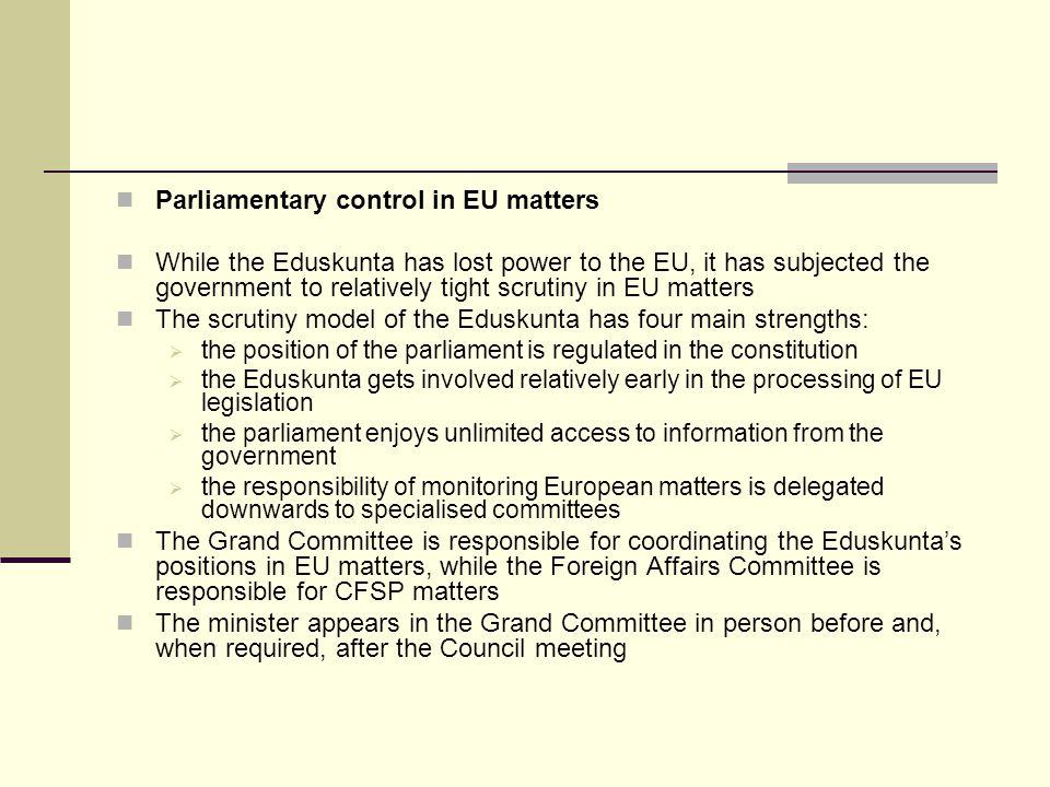 Parliamentary control in EU matters