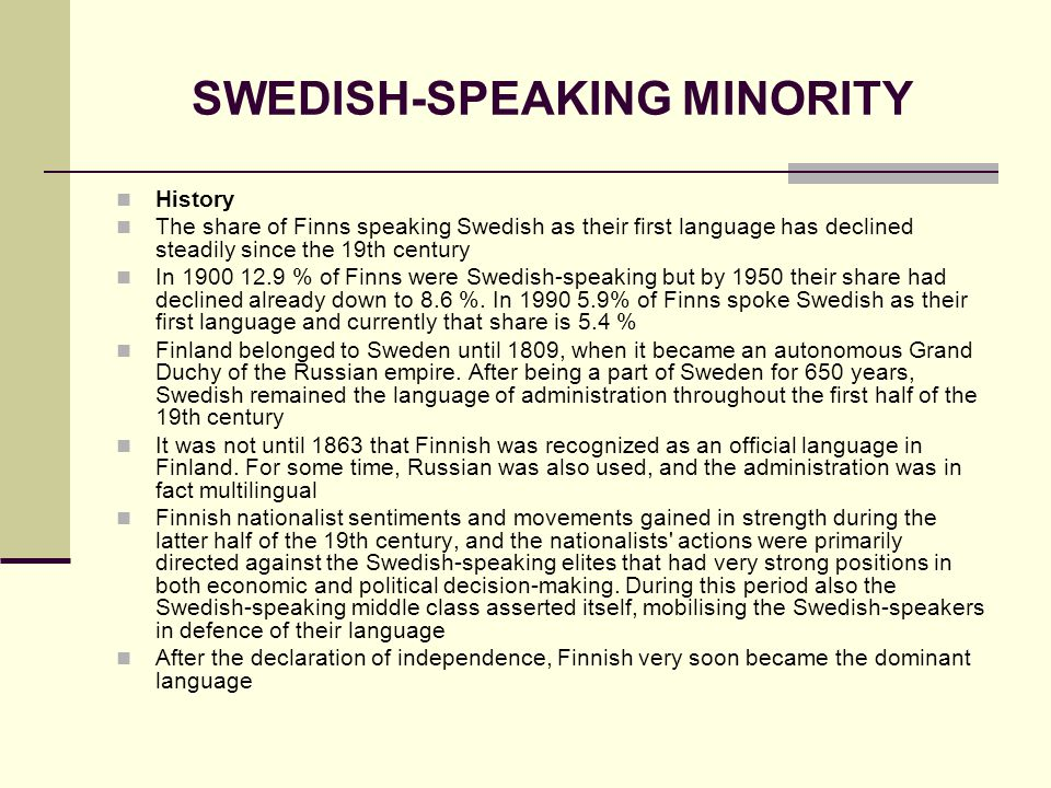 SWEDISH-SPEAKING MINORITY