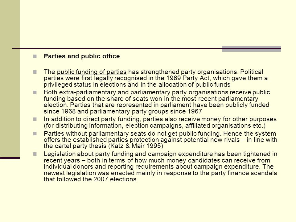 Parties and public office