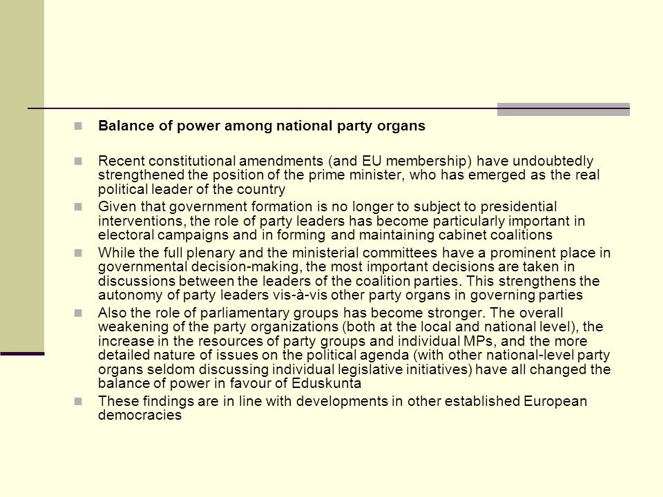 Balance of power among national party organs