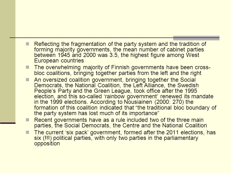 Reflecting the fragmentation of the party system and the tradition of forming majority governments, the mean number of cabinet parties between 1945 and 2000 was 3.5, the highest figure among West European countries