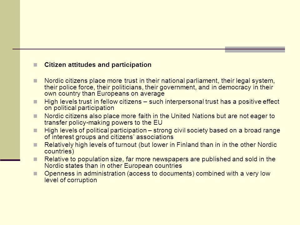 Citizen attitudes and participation
