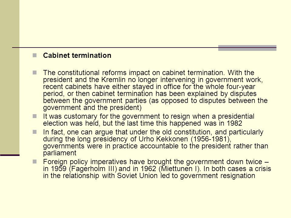 Cabinet termination