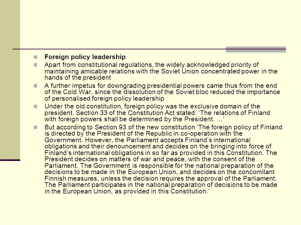 Foreign policy leadership