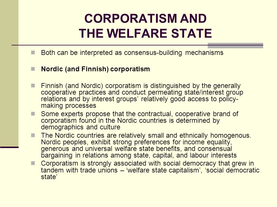 CORPORATISM AND THE WELFARE STATE
