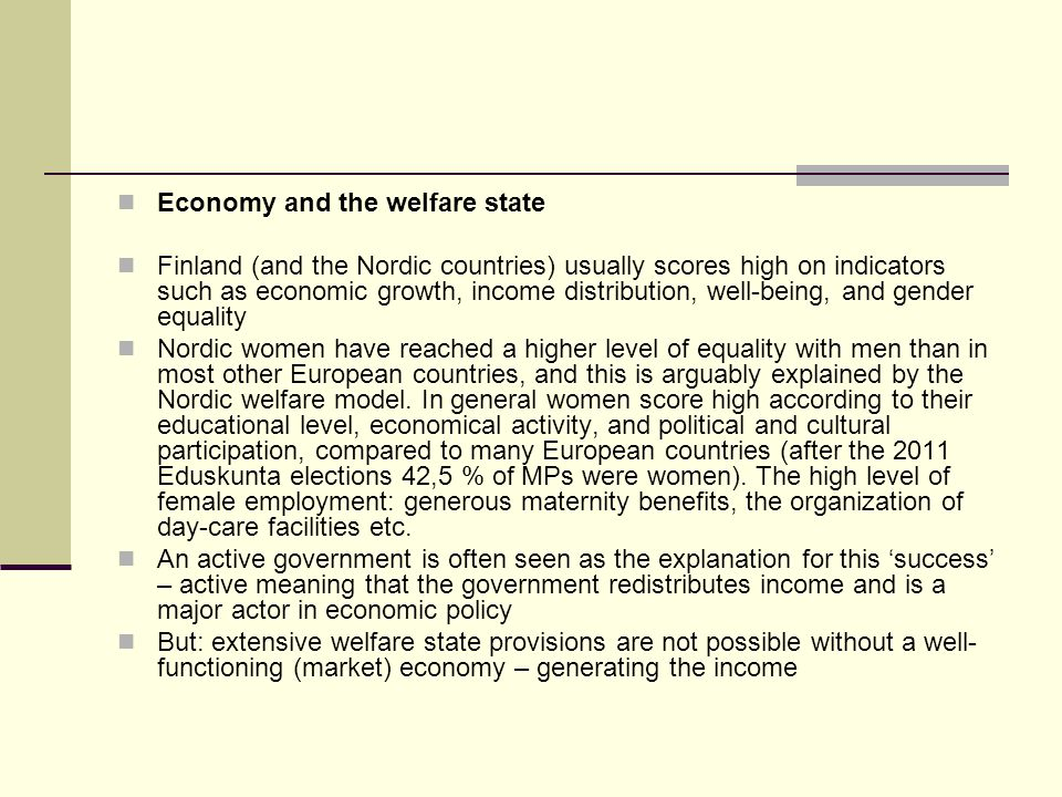 Economy and the welfare state