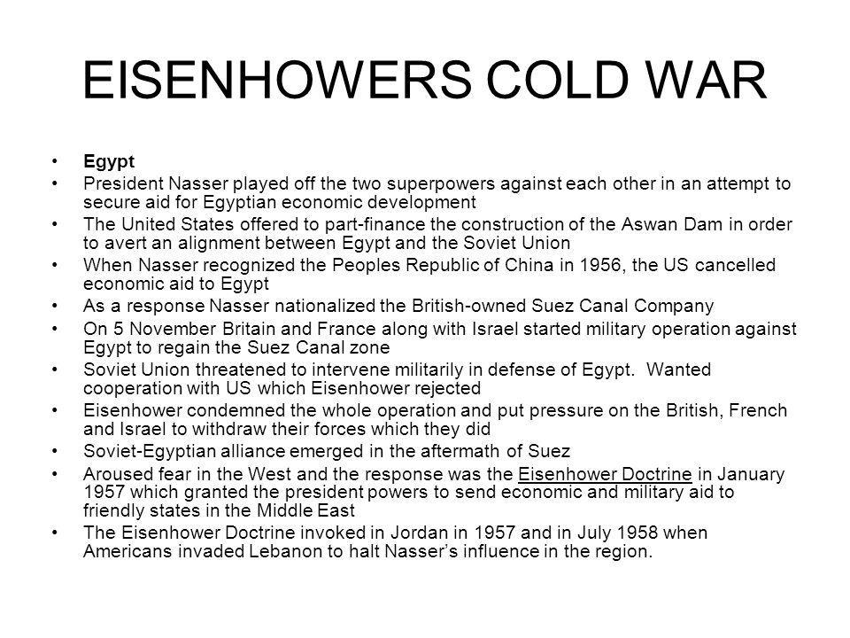 EISENHOWERS COLD WAR Egypt