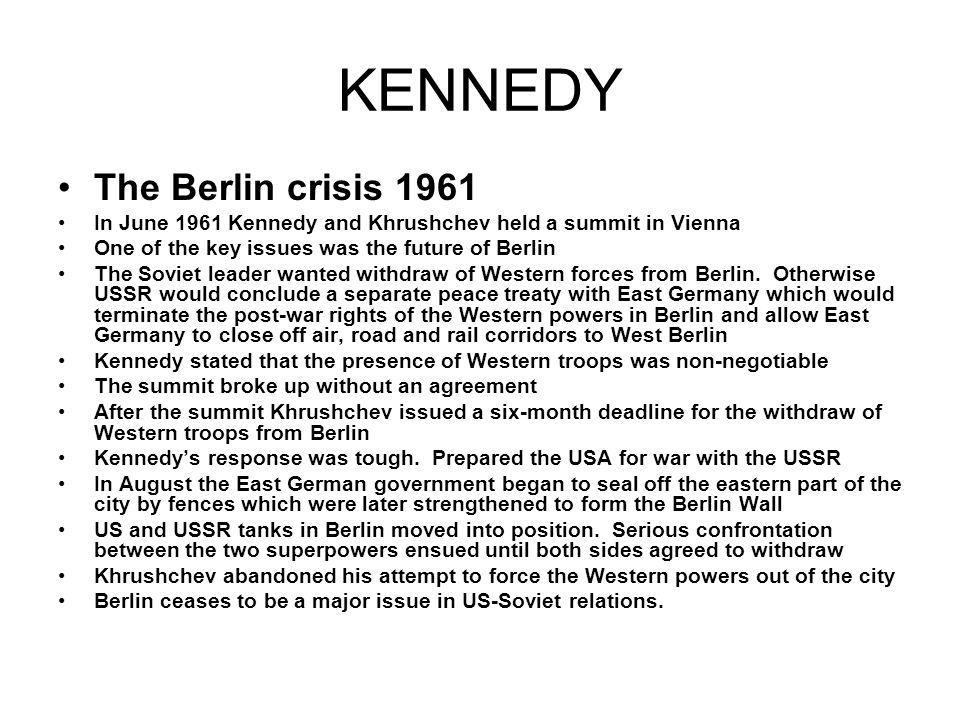 KENNEDY The Berlin crisis 1961