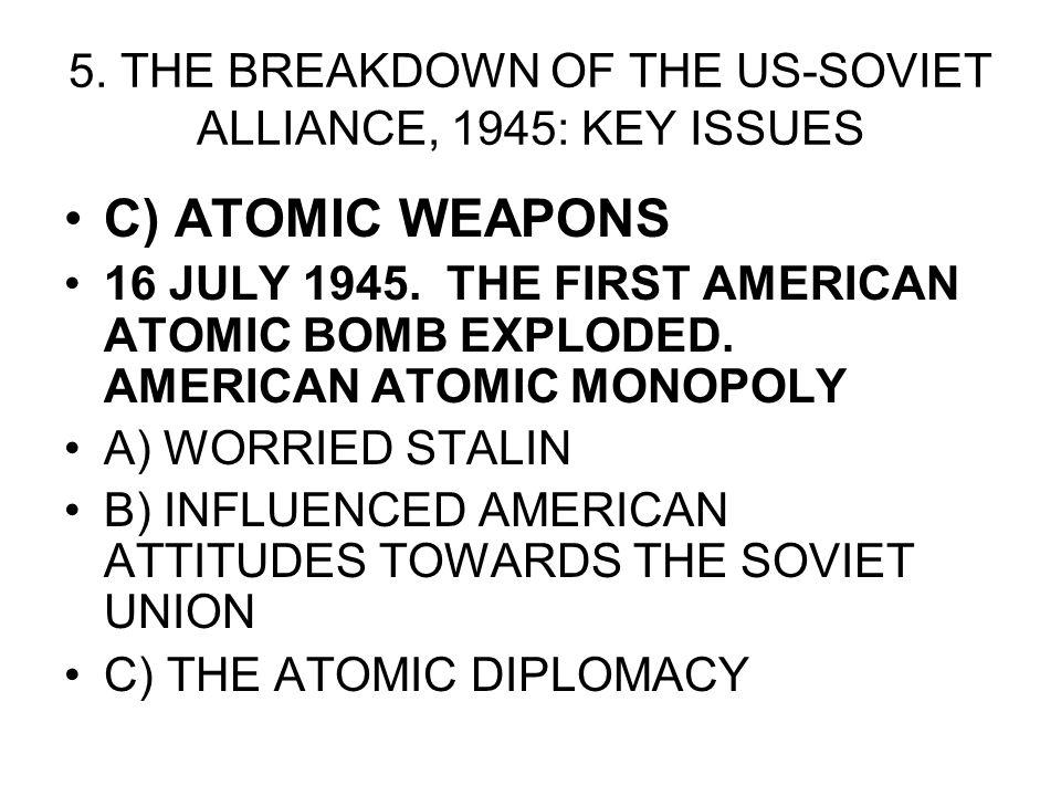 5. THE BREAKDOWN OF THE US-SOVIET ALLIANCE, 1945: KEY ISSUES