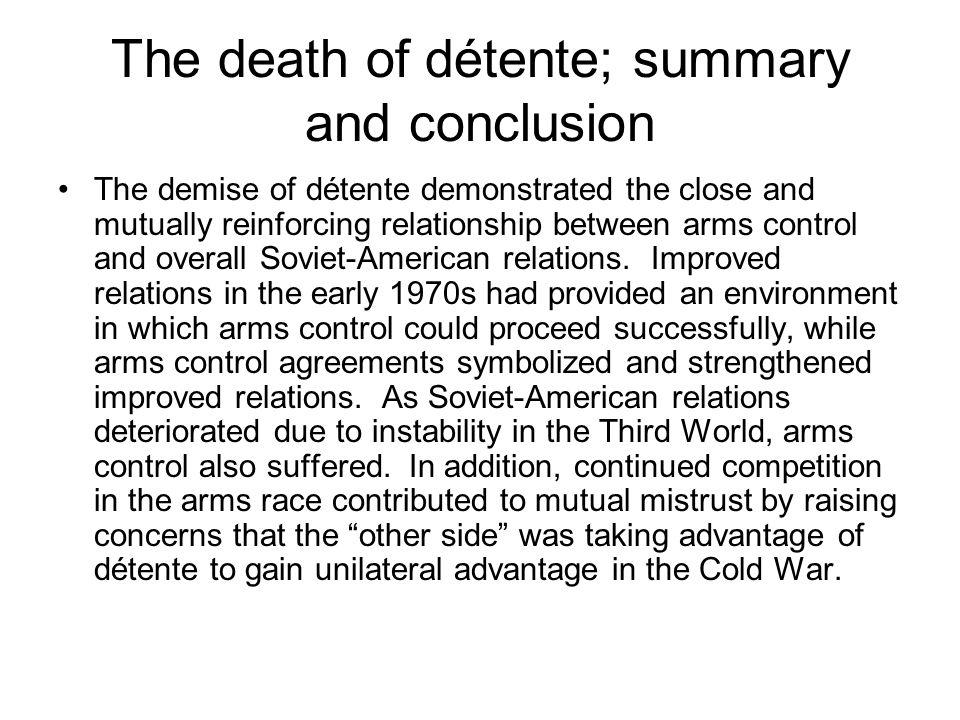 The death of détente; summary and conclusion