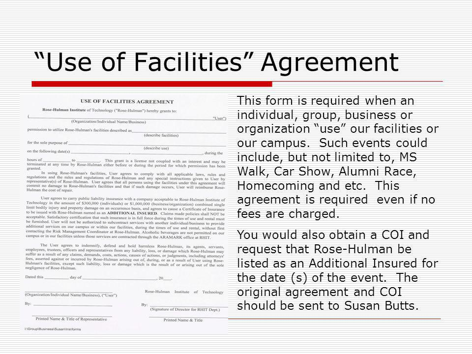 Use of Facilities Agreement