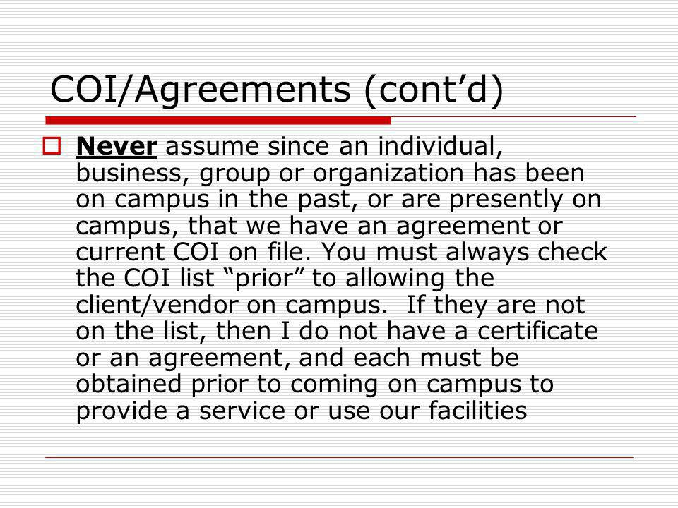 COI/Agreements (cont'd)