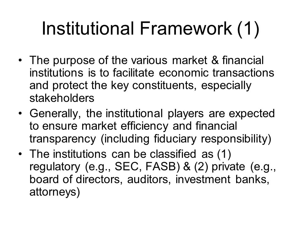 Institutional Framework (1)