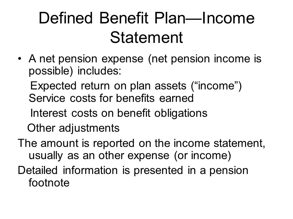 Defined Benefit Plan—Income Statement