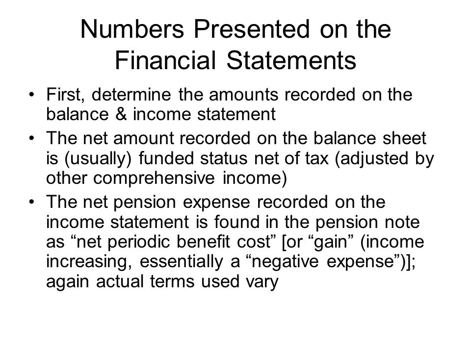 Numbers Presented on the Financial Statements