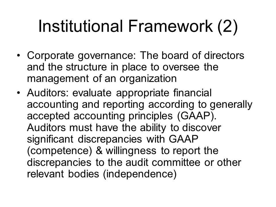 Institutional Framework (2)