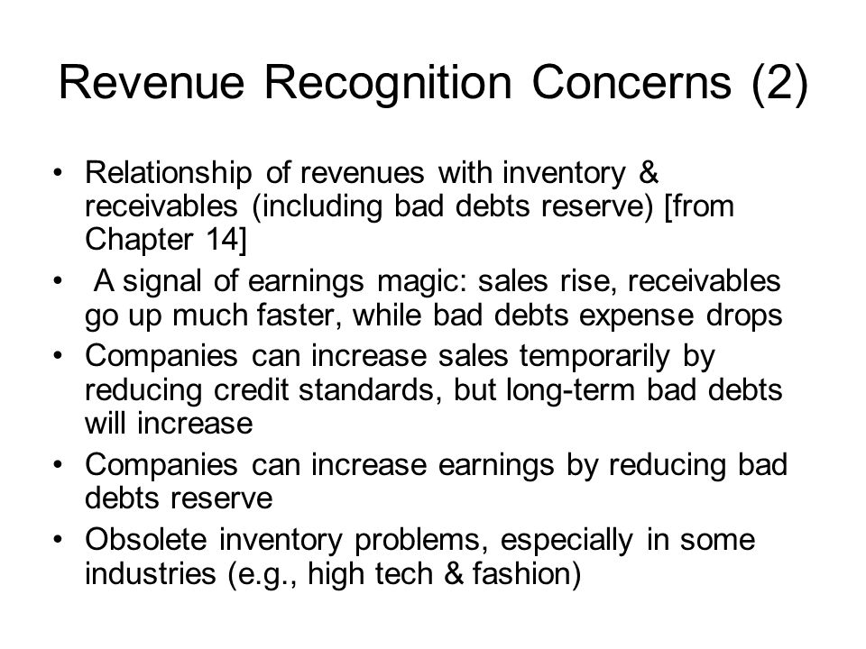 Revenue Recognition Concerns (2)