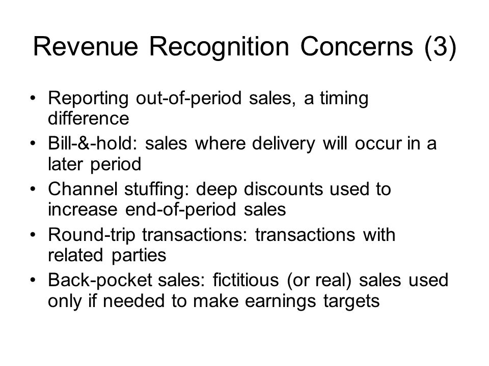 Revenue Recognition Concerns (3)