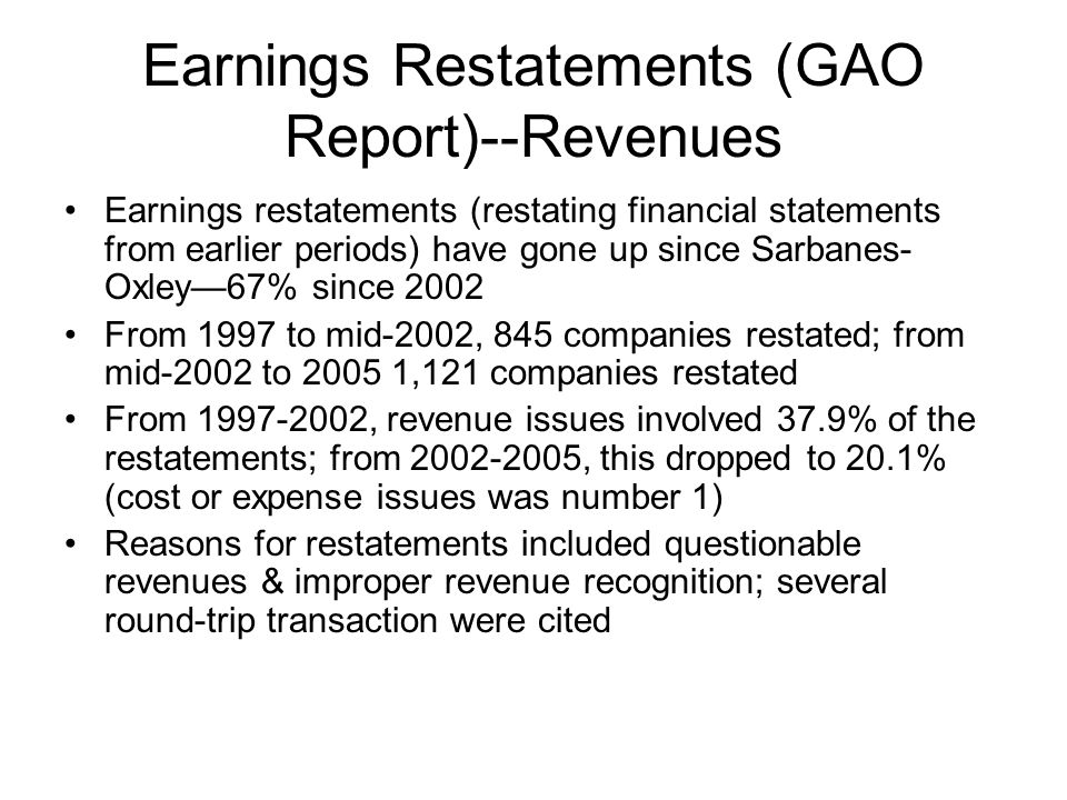 Earnings Restatements (GAO Report)--Revenues