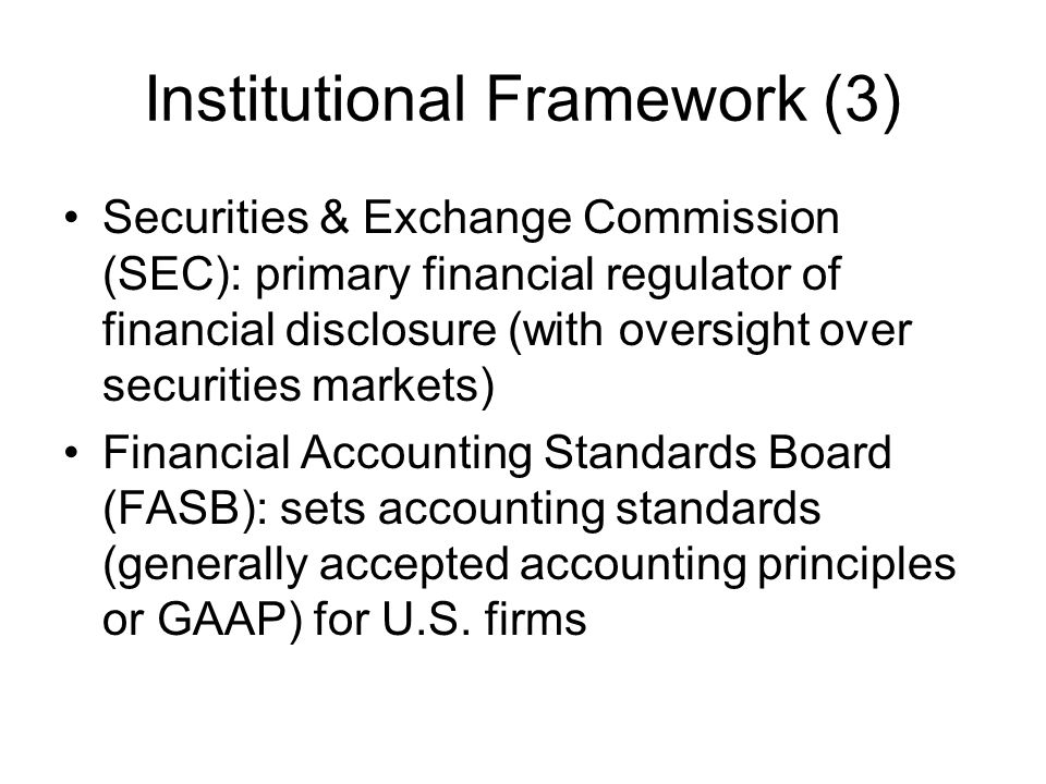 Institutional Framework (3)