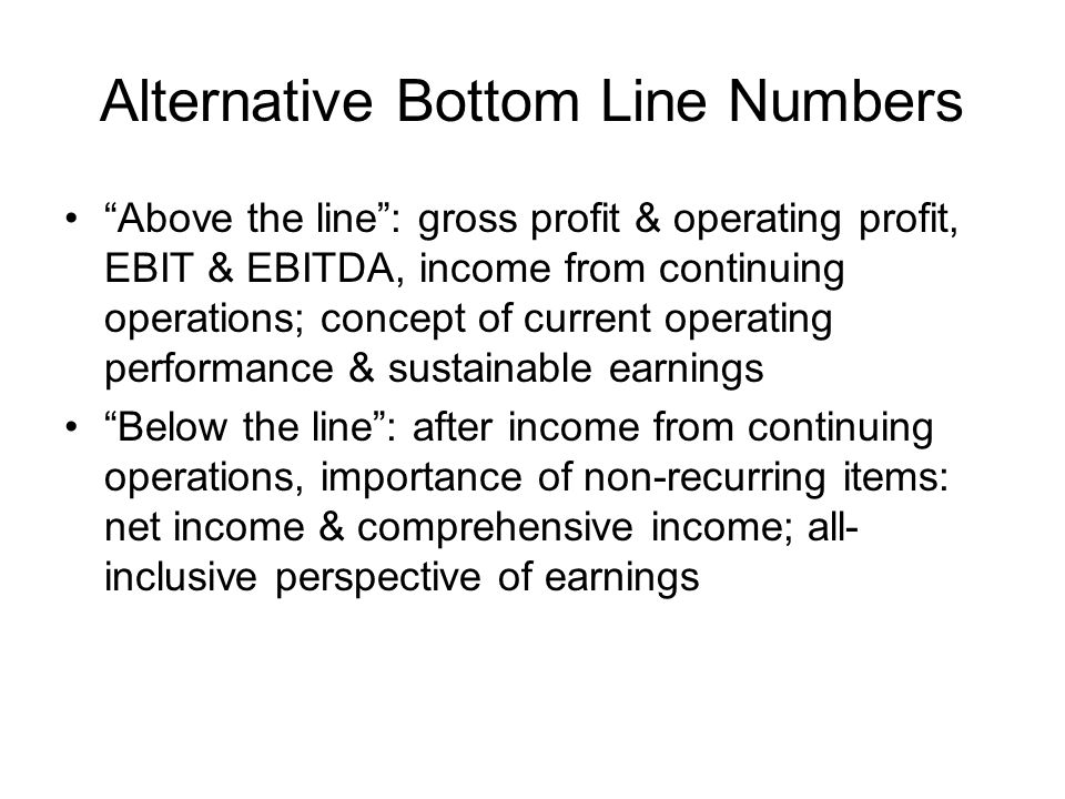 Alternative Bottom Line Numbers