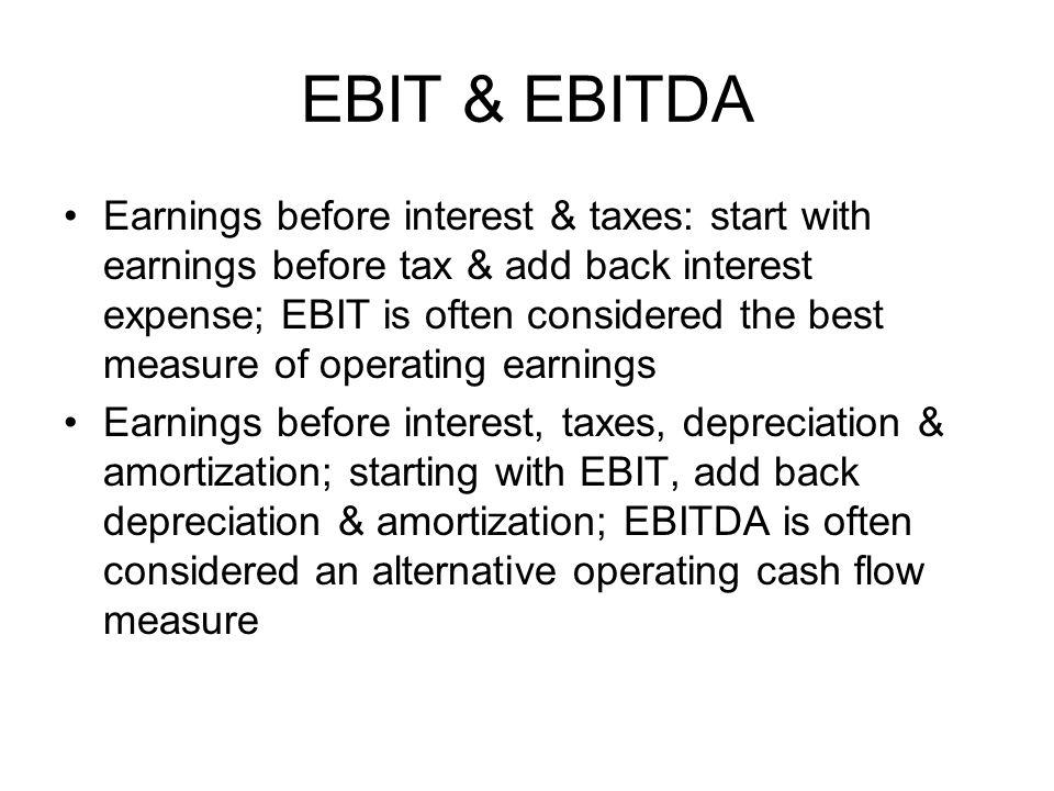EBIT & EBITDA
