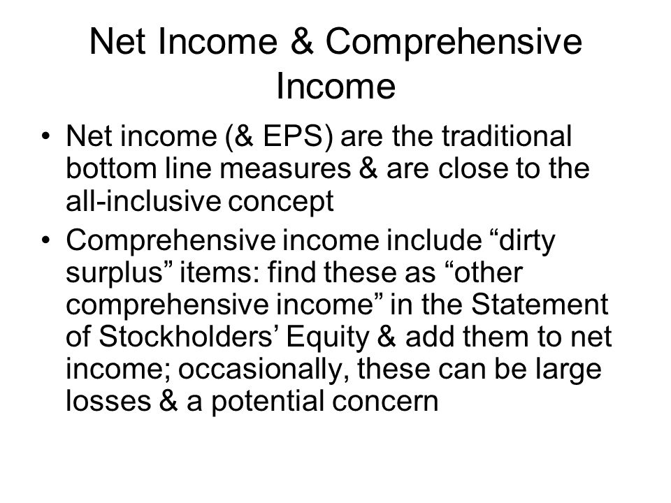 Net Income & Comprehensive Income