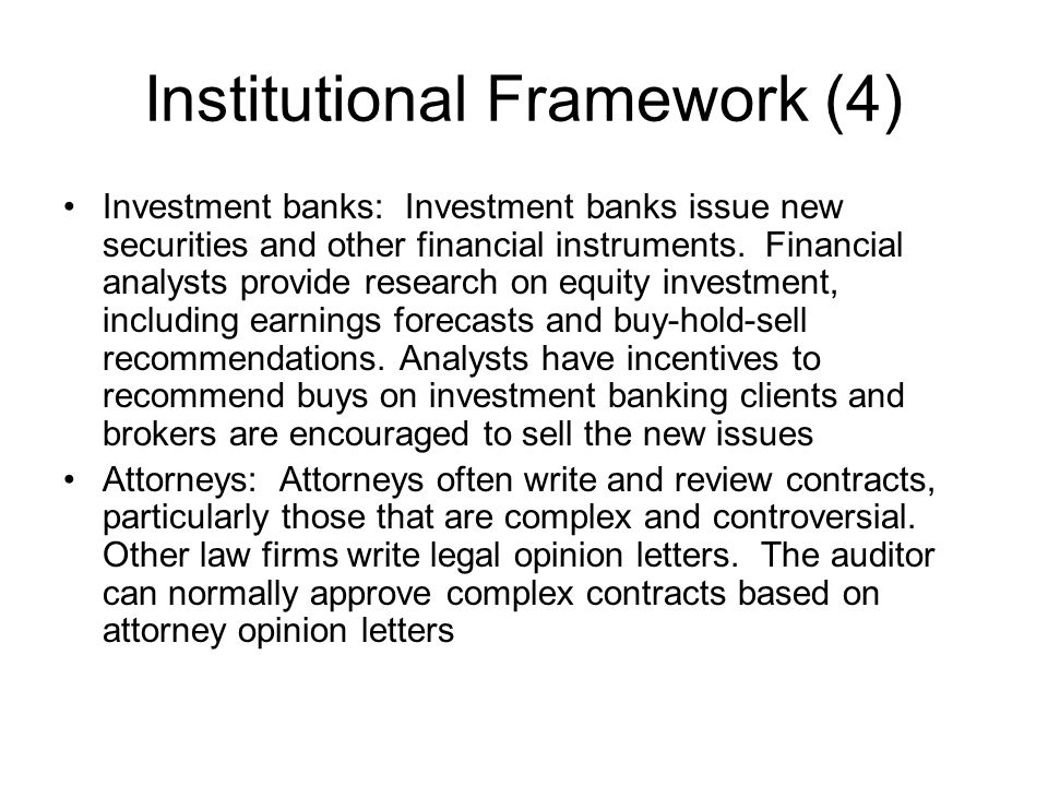 Institutional Framework (4)