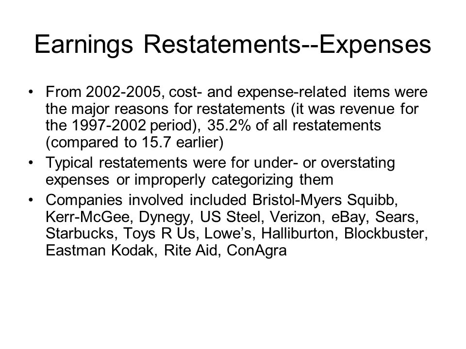 Earnings Restatements--Expenses