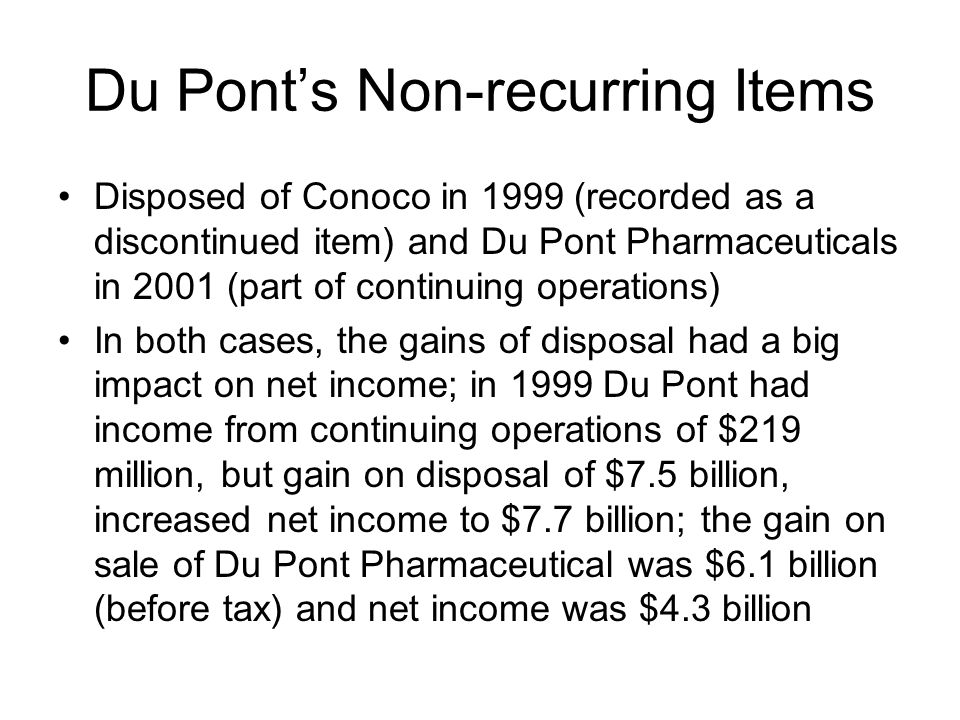 Du Pont's Non-recurring Items