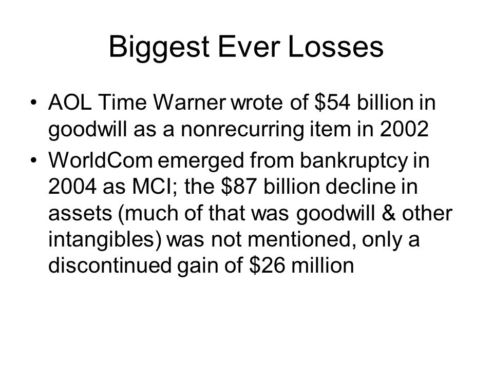 Biggest Ever Losses AOL Time Warner wrote of $54 billion in goodwill as a nonrecurring item in 2002.