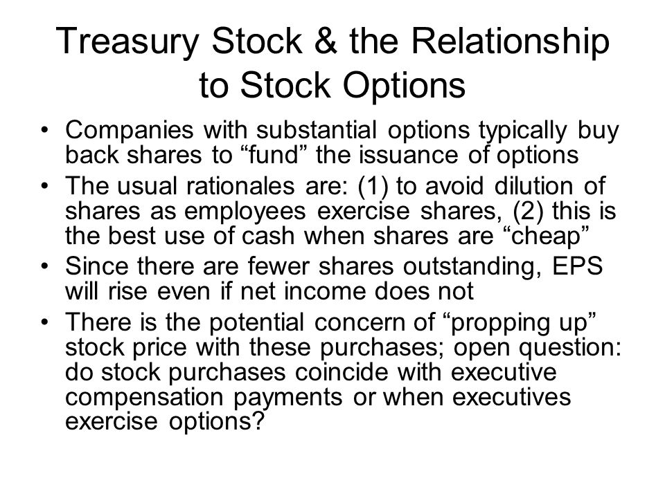 Treasury Stock & the Relationship to Stock Options