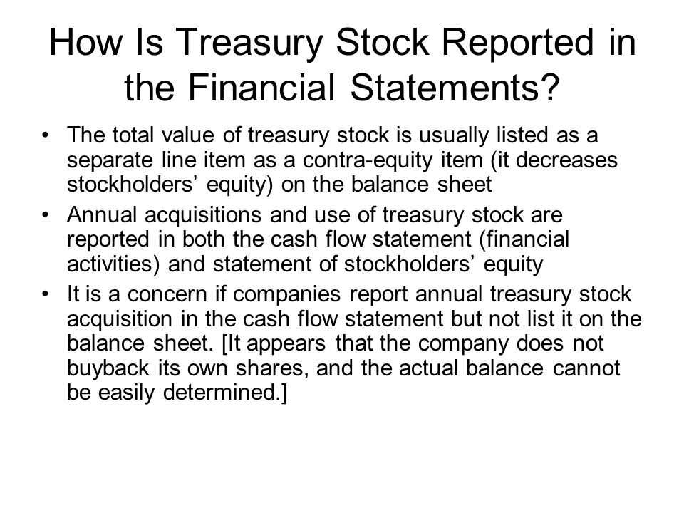 How Is Treasury Stock Reported in the Financial Statements